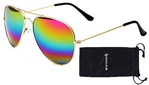 SOOLALA 2 Pairs Womens Classic Thin Metal Rainbow Mirrored Lens Aviator Sunglasses -