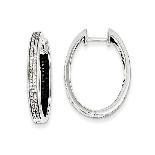 Sterling Silver Black & White Diamond In/Out Hoop Earrings by CoutureJewelers