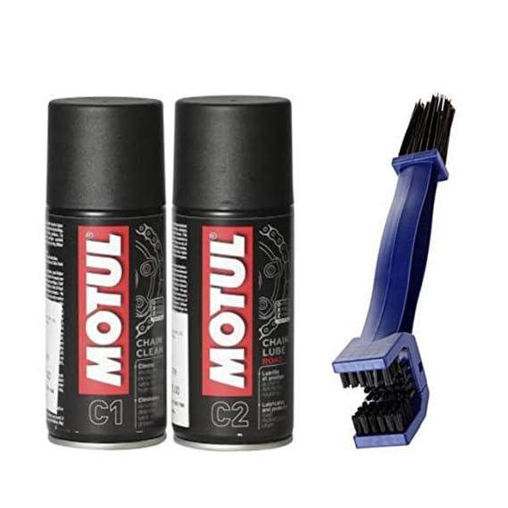 Motul Trenzfest Chain Clean C1, 150ml and C2 Chain lube, 150ml with Bike Chain Cleaning Brush