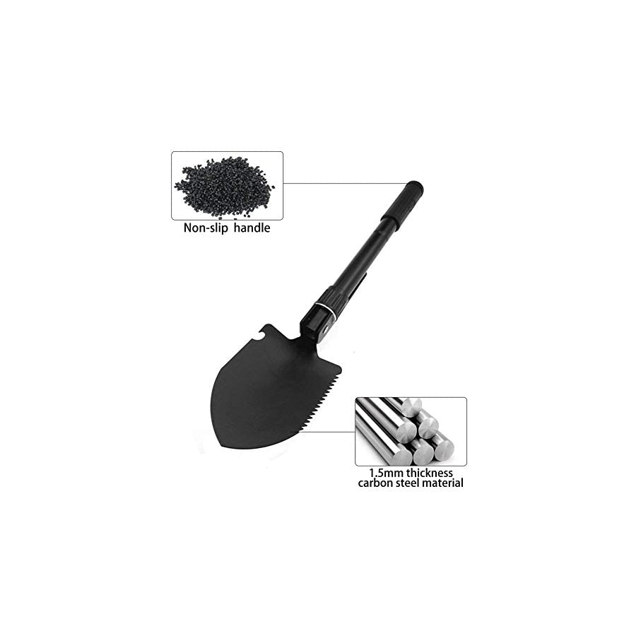 Multifunctional Folding Snow Shovel Entrenching Tool, Military Portable Emergency Carbon Steel Pickaxes Snow Removal Shovel, Shoveling Snow Tool for Car Camping Hiking Gardening Picnic