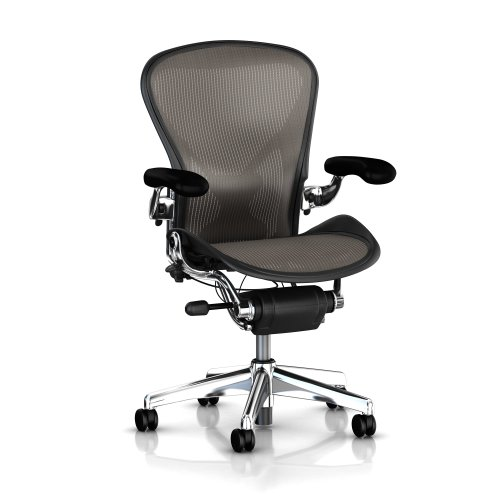 Herman Miller Executive Aeron Task Chair: Highly Adjustable w/PostureFit Lumbar Support - Fully Adjustable Leather Arms - Tilt Limiter - Size C - Standard Carpet Casters - Polished Aluminum Frame/Lead Classic Pellicle - Aeron Classic Frame