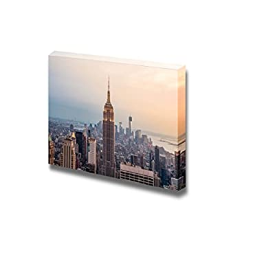 Canvas Prints Wall Art - New York City Skyline with Urban Skyscrapers at Sunset | Modern Wall Decor/Home Art Stretched Gallery Canvas Wraps Giclee Print & Ready to Hang - 32
