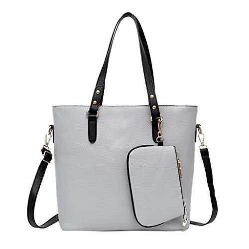 - 2Pcs Bucket Bags for Women Womens Satchel Hobo Top Handle Tote Soft Shoulder Crossbody Bag Small Purses Wallets Bags (Gray)