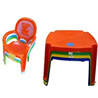 Childrens Kids Plastic Premium Table and Puppy Chair Set - Includes 4 Chairs