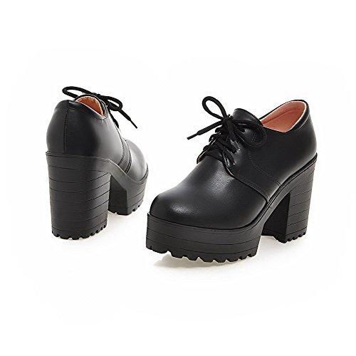 Alti Nero Morbido Tacchi Chiusa Rotonda Pompe Materiale Punta Pizzo shoes Donne up Solidi Delle Weipoot qtwT6Stv