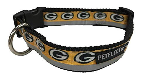 Green Bay Packers Dog Collar - Reflective - Nylon - Super Strength - NFL Team Logos - AZN Large