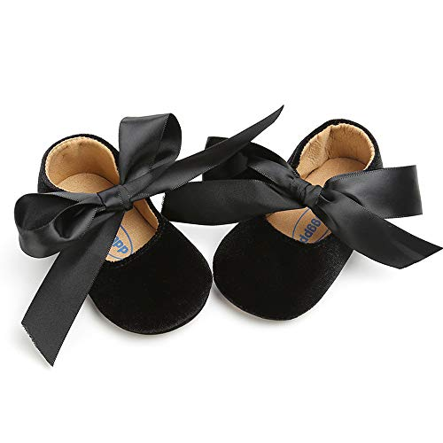 Rubber Sole Bow - Baby Girls Mary Jane Flats Anti-Slip Rubber Sole Bow Toddler Princess Dress Shoes (4.72 inches (6-12 Months), Y-Black)