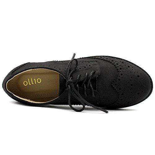 Ollio Dames Platte Schoen Wingtip Veter Faux Nubuck Oxford Zwart