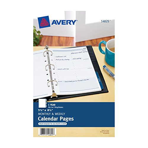 Avery Mini Monthly and Weekly Calendar Pages, 5.5 x  8.5 inches (14825) (Binder Three Ring Refill)