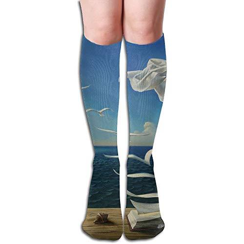(Unisex Knee High Long Socks Fantasy Sea Scenery Over Calf Casual Sport Stocking Cotton )