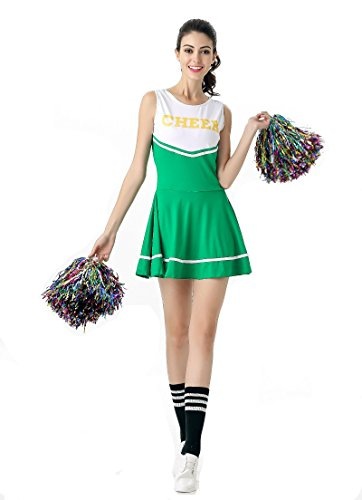 [Women's halloween cheering squad costume party (Free Size, Green)] (Cheering Squad Costume)