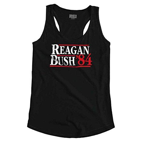 Ronald Reagan George Bush 84 Election POTUS Racerback Tank Top - Bush George Flag Usa