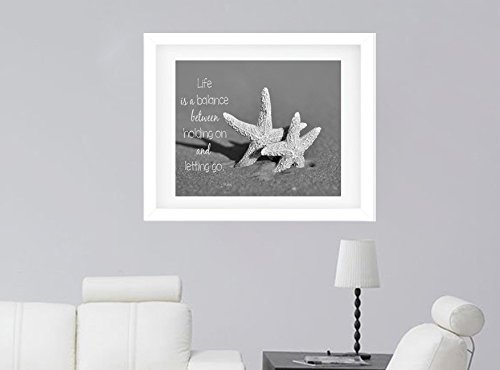 Black and White Photographic Print, Inspirational Wall Art, Life is a Balance Rumi Quote Photo Print, Seashell Starfish Picture, Coastal Cottage Beach Decor, Bathroom Bedroom Office Wall Decor