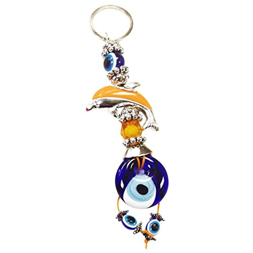 CF76881298-4, Evil Eye Yellow Dolphin 6.25 inch Keychain in Crystal Florida Red Suede Pouch, hand made in (Crystal Florida Dolphin)