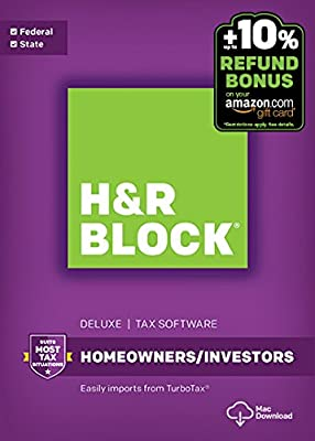 H&R Block Tax Software Deluxe + State 2016 Mac + Refund Bonus Offer