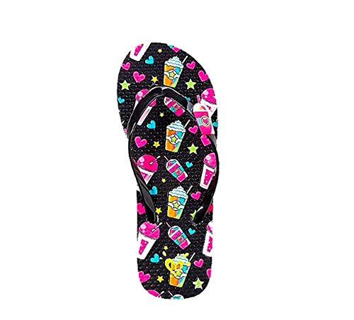 Justice Girls Frappe flip Flops Black Design Size 12