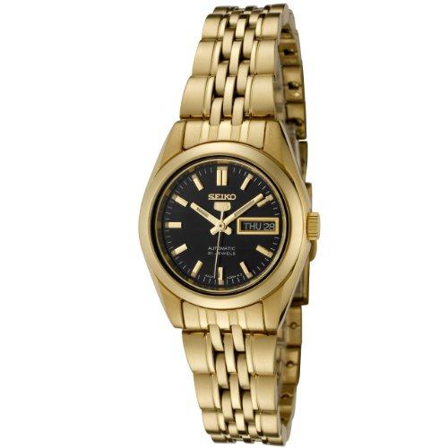 Seiko Gold Plated Bracelet - Seiko Women's SYMA40K Seiko 5 Automatic Black Dial Gold-Tone Stainless Steel Watch