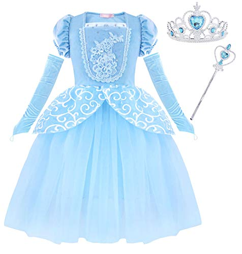 Cotrio Cinderella Costume Dress Up Girls Princess Dresses Halloween Party Cosplay Outfit with Accessories for 2-12Years (3T, 2-3Years, Tiara, Scepter)