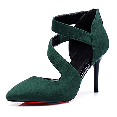 Pointed Dress Sexy Toe High Wedding Shoes Green Suede Women's Heel Party Stiletto Court Heeled Pump Shoes Ladies qwgPSCxtn6