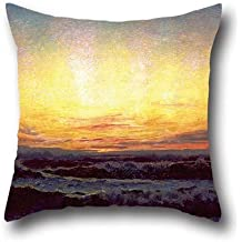 Pillow Shams Of Oil Painting Laurits Tuxen - The North Sea In Stormy Weather. After Sunset. H?jen 18 X 18 Inch / 45 By 45 Cm,best Fit For Dance Room,relatives,bench,shop,car Seat,club Twice Sides