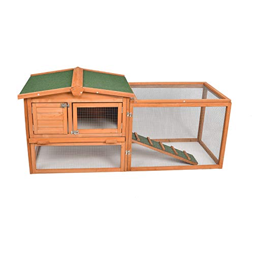 ECOLINEAR Chicken Coop Outdoor Rabbit Hutch Wooden Bunny Cage Pet House Coop for Small Animals (60B)