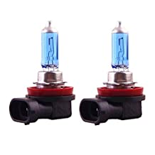 LEZEN H11 12V 55W Halogen Bulb Xenon Filled Super White for Car Auto (Pack of 2)