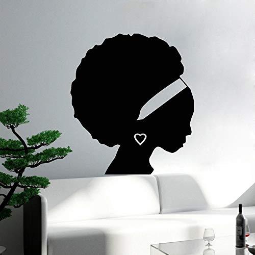Qsdfcc Chica Africana Mujer Negra Silueta Tatuajes de Pared Salón ...