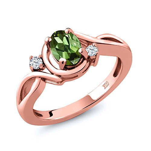 - Gem Stone King 0.78 Ct Oval Green Tourmaline White Topaz 18K Rose Gold Plated Silver Ring (Size 7)