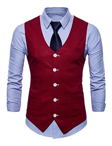 De Party Blazer Loisirs Slim Fit Tuxedo Gilet Vest Costume Hommes Gilets Essentiel Mariage Winered 47xw84r