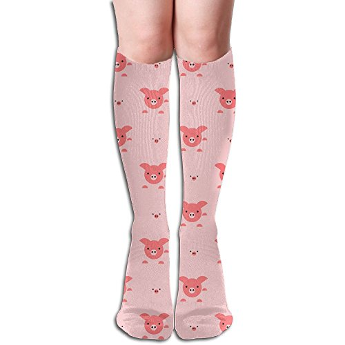 MASDUIH Women's Pigs Head Knee High Crew Socks Knee High Stockings