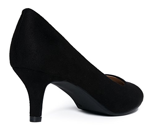 Heeled Black Kitten Women's Party Mid high Sale Casual Classic Pumps Heel Work Dress Pump Suede Closed Toe Comfortable tpvqrwpa