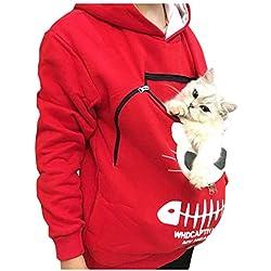 Cobcob Sudadera para Mujer con Capucha, diseño de Gato, Transpirable, Talla Grande, Rojo, XXL