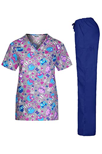 (MedPro Women's Printed Medical Scrub Set Mock Wrap Top and Pants Gray S)