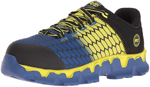 - Timberland PRO Men's Powertrain Sport Alloy Toe SD+ Industrial & Construction Shoe, Black Synthetic/Yellow/Blue, 12 M US