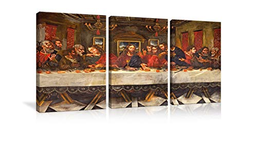 AMEMNY Last Supper Wall Decor Art Work for Home Walls Pictures 3 Panels Jesus Chirst Paintings Canvas Home Decor for Living Room Artwork Giclee Framed Gallery-Wrapped Stretched Ready to Hang