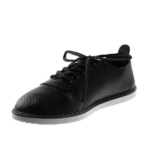 Piatto Tacco Finitura Tacco 5 Nero Cuciture Moda cm Donna Scarpe Tennis Angkorly Sneaker Perforato 1 Impunture gPwqq4