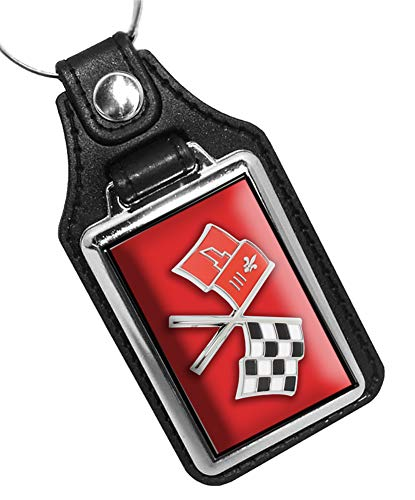 1965 Corvette Crossed Flags Emblem Design Faux Leather Key Ring (Rally Red)