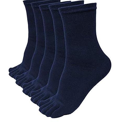 Mens Sports Running Socks,Hattfart Toe Socks Cotton Running Five Finger Crew Socks for Men Women 5 Pack