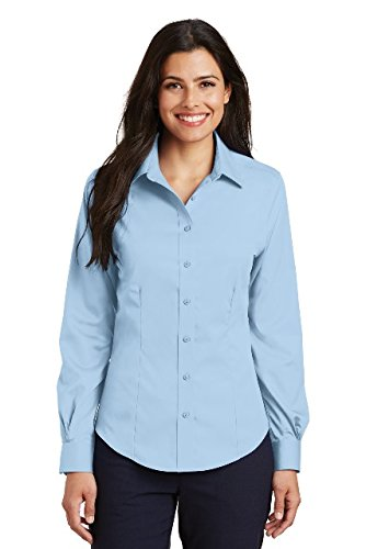 Port Authority Ladies Non-Iron Twill Shirt. L638 Sky Blue M ()