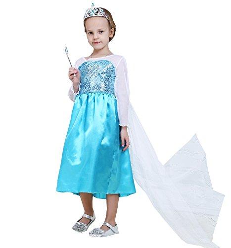 [Hot High Grade Snow Queen Elsa Children Girls Costume Dress (US-4/5, Classic-Elsa)] (Hot Costumes For Teens)