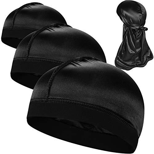 3PCS Silky Stocking Wave Caps, Compression Cap for Men Doo Rag, Award 1 Durag,G (Mens Stocking Cap)