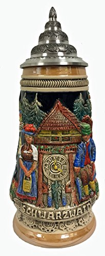 Black Forest Cuckoo Clock Relief Gift Boxed LE German Stoneware Beer Stein .5 L