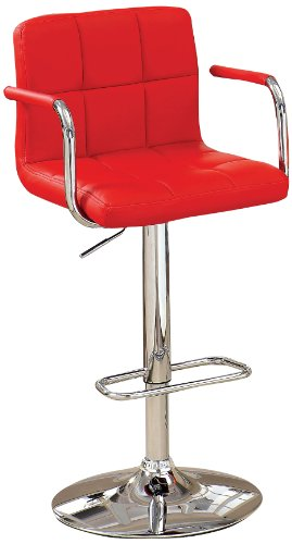Furniture of America Modern Chelsea Leatherette Swivel Bar Stool, Red