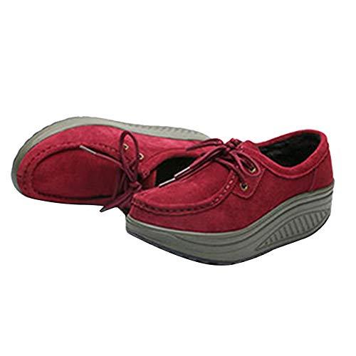 Cuneo Pelle Donna Piattaforma Fitness Leggera Rosso Addestratore Zeppa Sneaker Moda Scarpe Comodo Yudesun Scamosciato Atletico Zzwf0
