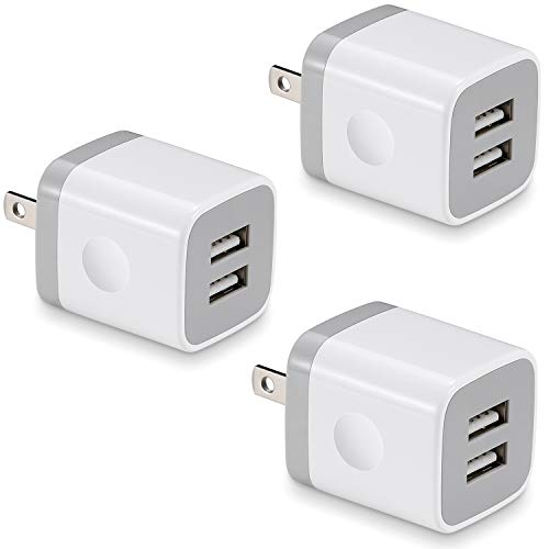 USB Wall Charger, BEST4ONE 3-Pack 2.1A/5V Dual Port USB Plug Power Adapter Charging Block Cube Compatible with Phone X 8/7/6 Plus SE/5S/4S, Samsung, Moto, Kindle, Android Phone -White