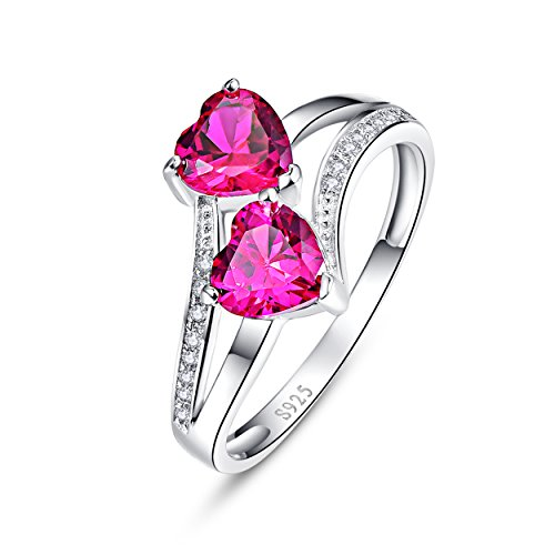 Yeinos Womens Created Ruby Heart Ring 925 Sterling - Created Stackable Ring Ruby