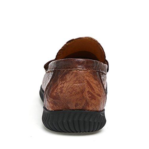 Miyoopark - Mocasines de Piel para hombre Brown-Style2