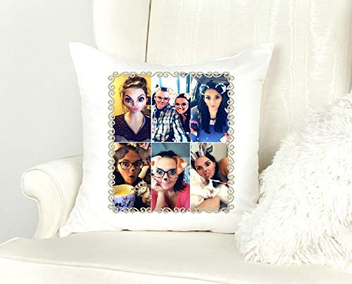Photo Collage Throw Pillow - 14X14 inch Selfie Pillow - Personalized Valentine's Day Gift ()