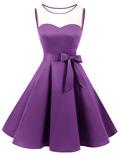 Bridesmay Donna Anni '50 Ispirato Abito Retro Swing Abiti Da Cocktail Purple