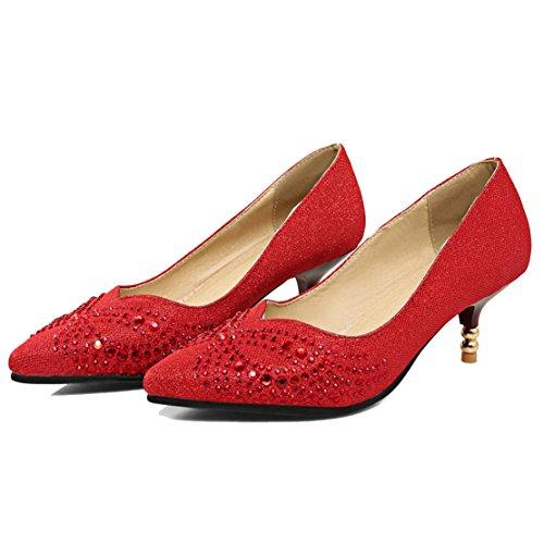 AIYOUMEI Damen Spitz Glitzer Kleinem Absatz Pumps mit 6cm Absatz und Strass Stiletto High Heels Modern Pailletten Pumps Schuhe Rot